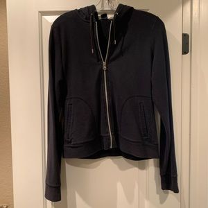 Black zip front stretch hoodie from Gap